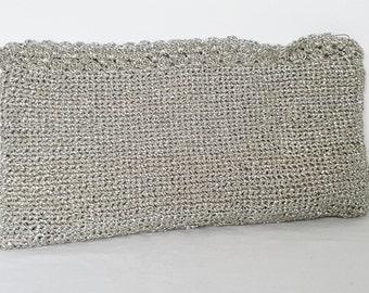 1960s Handmade Silver Metallic Thread Clutch Handbag. Great For Formals and Black Tie