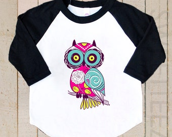 Kids Owl Shirt Raglan Shirt Pink  black Raglan 3/4th Sleeve Shirt Toddler Youth Shirt