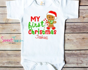 My First Christmas Shirt Gingerbread man Baby Bodysuit Personalized