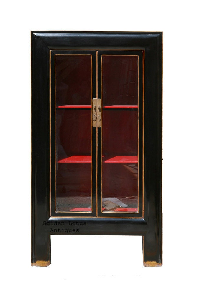 Black Amp Red Lacquer Glass Door Display Bookcase Cabinet Wk519e