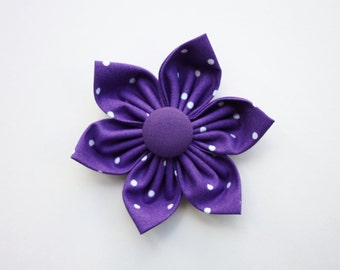 Purple Polka Dot Dog Collar Flower / Dog Bow Tie