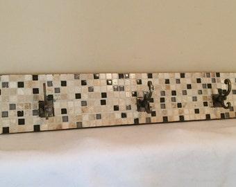 Brown/Tan Mosaic Tiled Coat Rack