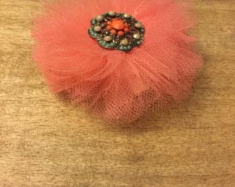Coral Tulle flower hair clip• Handmade