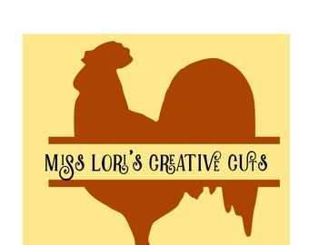 Rooster Split letter  SVG   cut File Wood sign decal   animalsscrapbook vinyl decal wood sign cricut cameo Commercial use