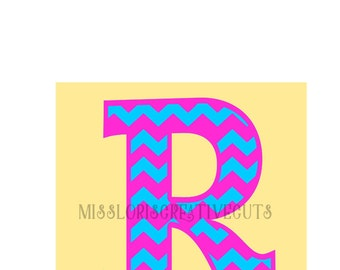 Chevron Letter monogram  R  SVG Cut file  Cricut explore filescrapbook vinyl decal wood sign cricut cameo Commercial use