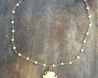 Gold Arrowhead Choker Beaded Necklace - Boho Chic