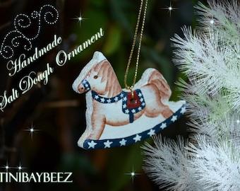 Americana Rocking Horse Cinnamon Salt Dough Ornament