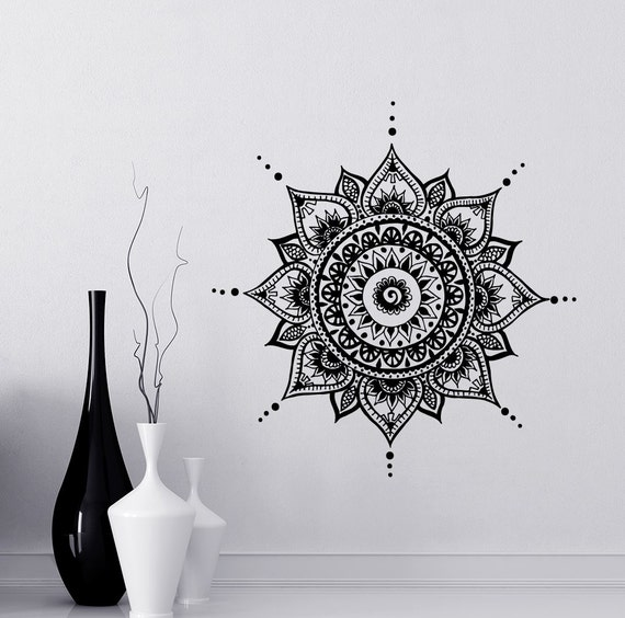 Bohe Mandala Flower Wall Paper Decor Yoga Studio Vinyl: Mandala Wall Decal Yoga Studio Vinyl Sticker By LollipopDecals