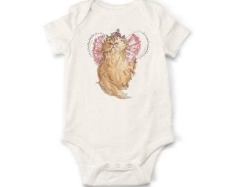 Cat Baby Onesie, Queen Onesie, Organic Cotton Baby Onesie, Handmade Onesie, Baby Onesie