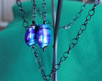 Blue Foil Lentil Lampwork necklace and earring set
