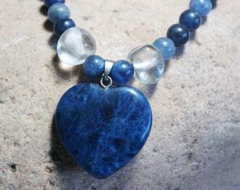 Blue Girl Sodalite Heart Necklace