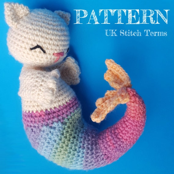 Amigurumi Crochet Purrmaid Mermaid Cat Pattern UK stitch terms