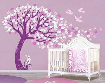 Cherry blossom tree wall mural etsy for Cherry blossom tree mural