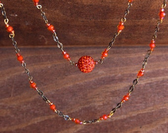 "Handmade 17"" Bronze Chain and Orange Crystal Beaded Necklace"