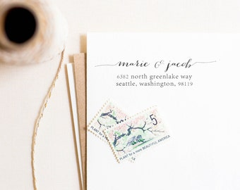 Chic Calligraphy Address Stamp, Personalized Address Stamp, Return Address Stamp, Wedding Stamp, Customized Stamp, Calligraphy (Style 8)