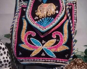 Boho Vintage Black Velvet Evening Bag with Elephant Kalaga and Colordul Embroidery