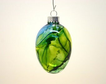 Unique Glass ornament Glass art Hand painted alcohol ink gift Glass Egg unique one of a kind collectible gift for her/him