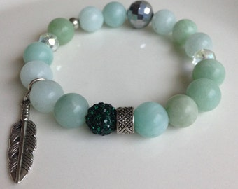 Light Pastel Green with Dark Green & Silver Bracelet