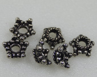 Big Hole Bead Caps, Sterling Plated, 12Pcs