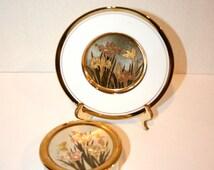 Chokin Hummingbird and Flowers Plate//Chokin Butterflies and Flowers Trinket Box//Vintage Chokin Art