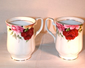 Two Rose Garden Teacups//Fine Bone China//Coffee ~ Tea Cups//Vintage Tea Cups