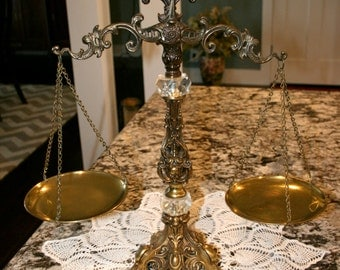 1960s Brass Scales of Justice//Solid Brass With Glass Accents//Ornate Brass Scales//Vintage Brass Scales