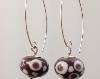 GRAPE WHITE DOT, handmade lamp work glass beads, on Sterling Silver earwires