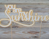 You are my Sunshine Cake Topper. Yellow Glitter Cake Topper. Sunshine. Birthday Cake Topper. Baby Shower Cake Topper. You are my Sunshine