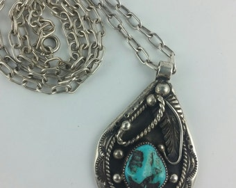 """Lowel Draper Navajo Modernist Turquoise Sterling Silver Necklace on 24"""" Silver Chain, Marked, Vintage"""