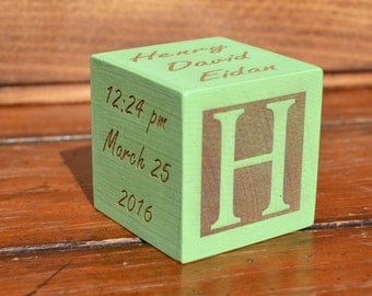 Personalized Baby Block New Baby Gift Newborn Baby Gift Personalized Baby Gift Newborn Gift Wooden Baby Block