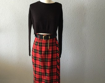 1990's Grunge High Waisted Plaid Wrap Skirt with Black Wide Belt