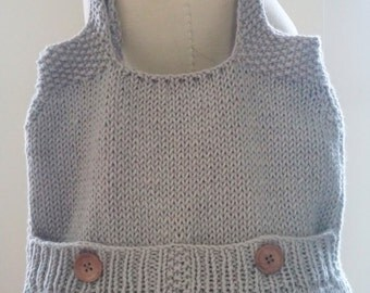 Large Gray Knitted Tote Bag