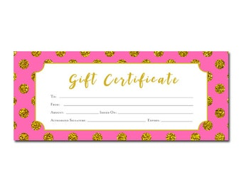 Burlap plaid christmas tree gift certificate template gold polka dots printable gift certificate hot pink gold glitter birthday yadclub Gallery