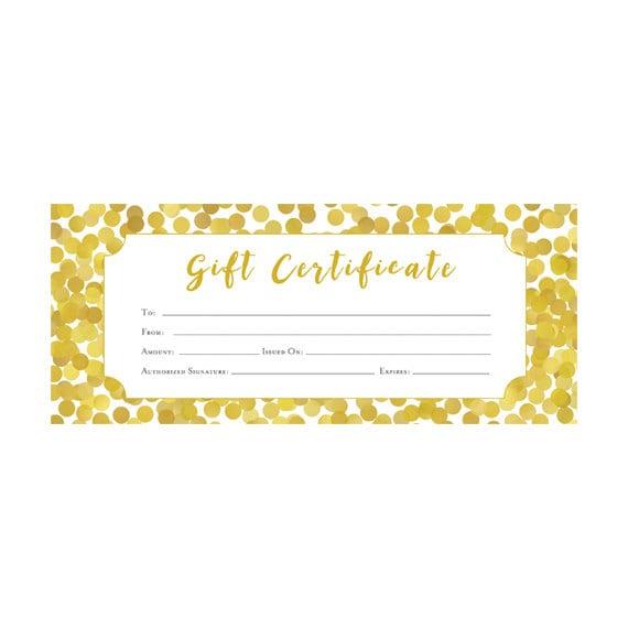 Gold Glitter Confetti Gift Certificate Premade Customer