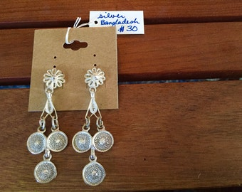 Bangla silver filigree earrings