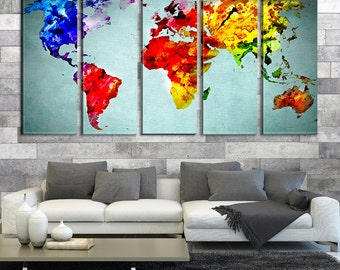 Colored Watercolor World Map Canvas Art Print No:275