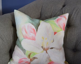 Apple Blossom Green, Yellow & Pink Floral Cushion/100% fine linen/45x45cm/Curled Duck Feather Pad/Digitally Printed/Hand Dyed Yellow Reverse