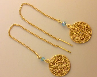 Gold Dangle Earring - Flower Filigree Earring with Swarovski Crystal (Color Options)
