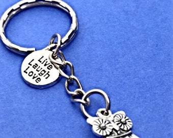 Live laugh love keychain, love laugh live charm, word charm keychain, quote keychain, live, laugh, love, keychain,motivational gift for her,