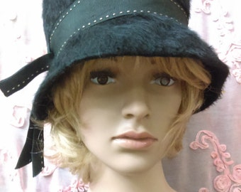 1940's Black Cloche Hat From Merrimac Merri-Soie