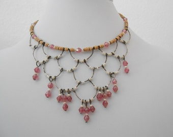 beaded wire choker necklace