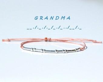 Grandma morse code bracelet-Grandma bracelet-God Mother bracelet-Christmas Gift for Grandma-925 Silver