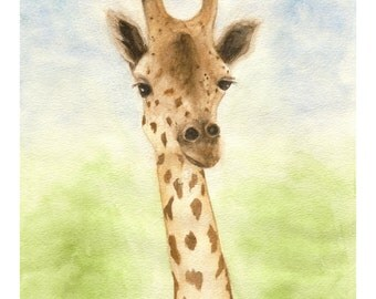 Gerry Giraffe,  Giclee  Print from Watercolor