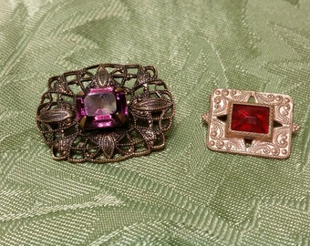 Vintage Pins,1 Purple 1 Red