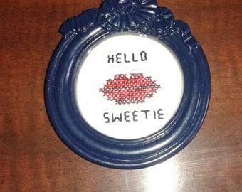 Hello Sweetie Cross Stitched Finished Piece