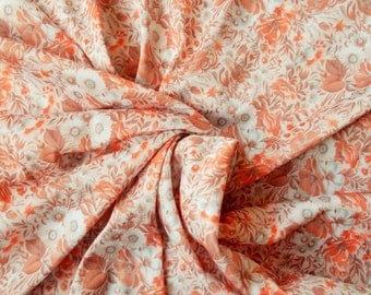 Retro Polyester Dress Fabric -  1970's - Floral design in peach, orange and brown - 1 piece - Unused