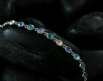 Deep Blue Lagoon Bracelet - Swarovski crystals finished in a lustrous rhodium finisj