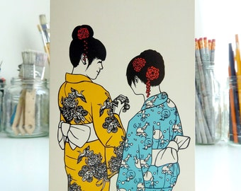 Card Yukata Girls / Illustration / Japanese cardcollection / Traditional kimono / Kyoto Japan / Summer festival / Blank A6 card