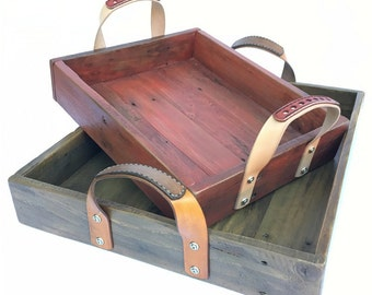 Theodore Serving Tray | Reclaimed Wood Tray with Leather Handles | Ottoman Tray | Wooden Caddy | Wood Organizer