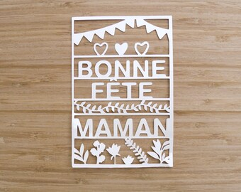 Postcard - mothers day-bonne Fête maman - paper cut